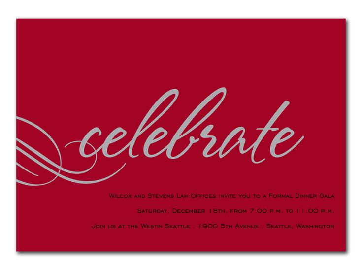 Red Celebrate - Corporate Invitations by Invitation Consultants - corporate invitation text