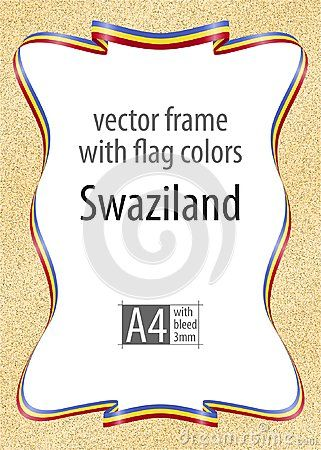 Frame and border of ribbon with the colors of the Swaziland flag, template elements for your certificate and diploma. Vector, with bleed three mm.