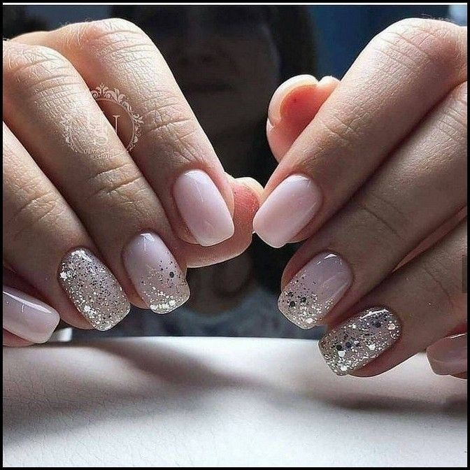 152 Cute Nail Art Designs For Short Nails 2019 Page 20 Myblogika Com Pale Pink Nails Glitter Accent Nails Special Nails