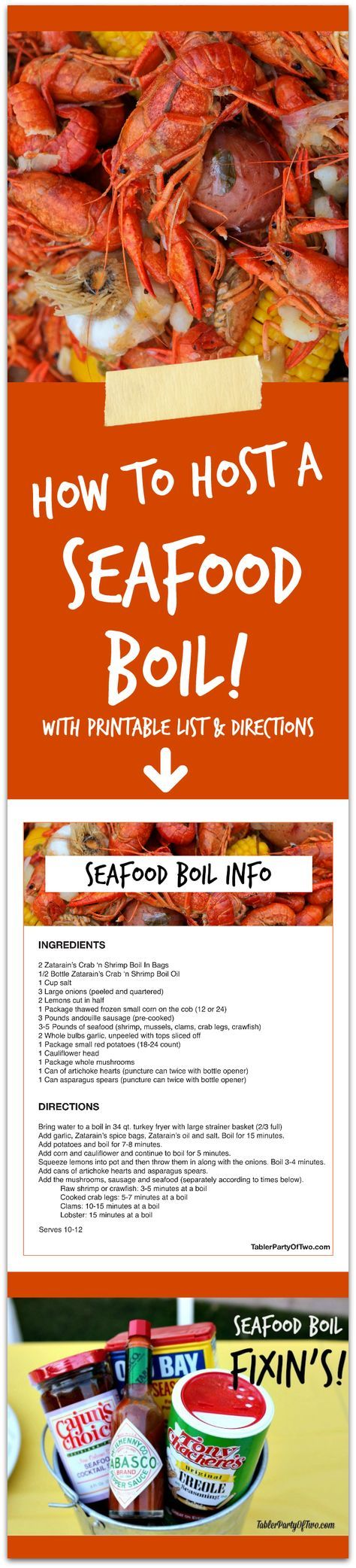 How to Host a Seafood Boil - everything you need to know! This will be the MOST FUN summer party you ever threw! Click to get your FREE printable list and directions. : tablerpartyoftwo #Summer