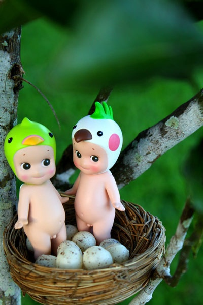 Sonny Angel dolls with birdie hats, in a nest