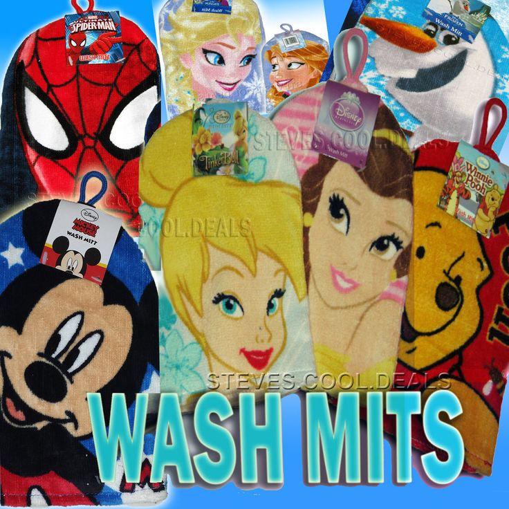 KIDS WASH MITT BATH FACE FLANNEL CLOTH DISNEY PRINCESS FROZEN MICKEY SPIDER MAN #Disney