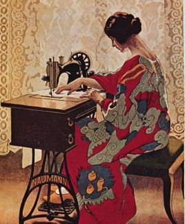 Seamstress in red