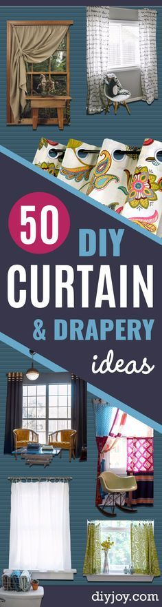 50 DIY Curtains and Drapery Ideas -  Easy No Sew Ideas and Step by Step Tutorials for Drapes and Curtain Ideas - Cheap and Creative Projects for Bedroom, Living Room, Kitchen, Kids and Teen Rooms - Simple Draperies for Fabric, Made Out of Sheets, Blackout Curtains and Valances http://diyjoy.com/diy-curtains-drapes
