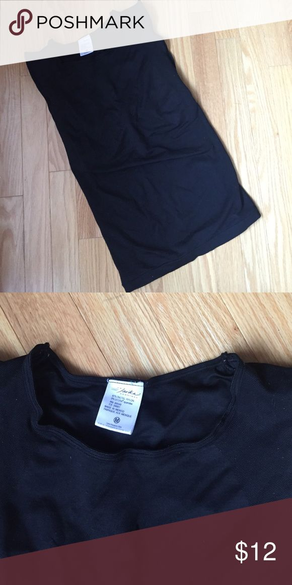 Black workout shirt Thick nylon workout shirt. Built in bra. Form fitting. Listed as Nike for exposure Nike Tops