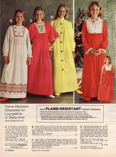 """Amazing how often the term """"flame-resistant"""" is used by JC Penney.  Guess it was the era of polyester."""