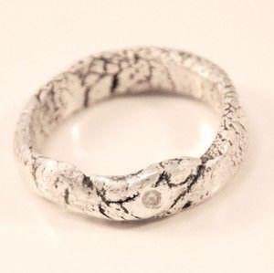 Silver clay ring with swarowski stone by Rikke Kjelgaard