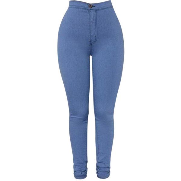 High Waist Elastic Skinny Pure Color Pants (925 DOP) ❤ liked on Polyvore featuring pants, light blue, skinny pants, high rise pants, blue high waisted pants, cocktail pants and light blue pants