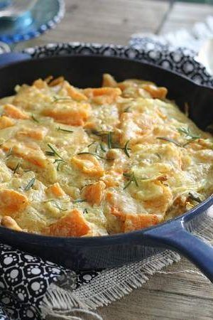 This rosemary butternut squash skillet pie is like a mix between a squash gratin and pie. It comes together in minutes and bakes up as a festive fall side dish.