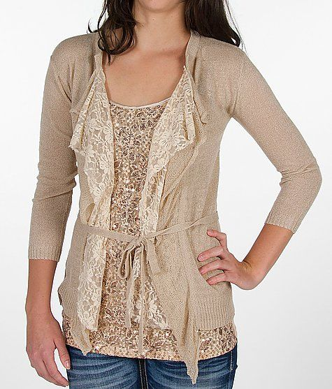 BKE Boutique Cardigan Sweater (add lace to existing cardigan...)