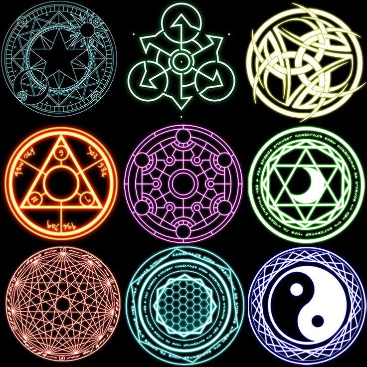 A collection of magic circles, mixing my own with some found on the web. Feel free to use them or even ask for the original PSD in case you want to get rid of the pesky black background.