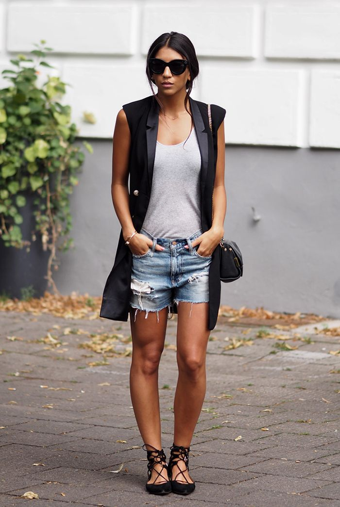 spring / summer - street style - street chic style - layers - summer layers - summer outfits - beach outfits - black long vest + grey tank top + distressed raw hem denim shorts + black suede lace up flats + cat eye sunglasses + black shoulder bag