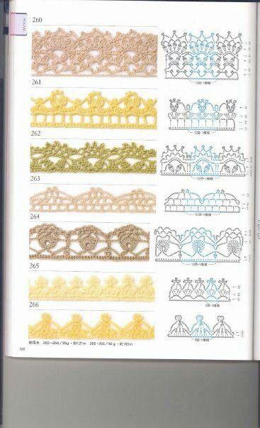 Terminaciones crochet 260-261-262-263-264-265-266 patrones
