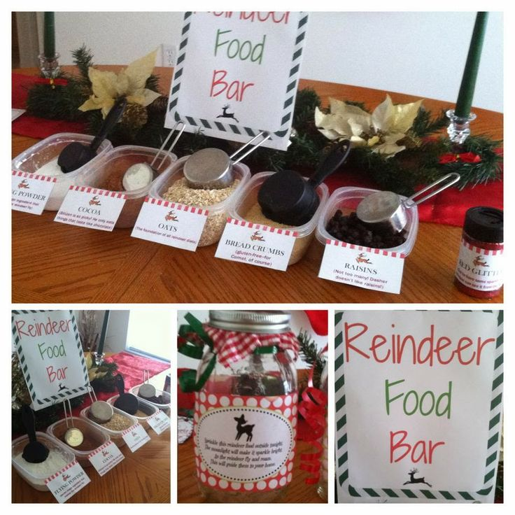 Reindeer food bar. You could incorporate math and let the students measure out the ingredients!! 3/4 of a cup of glitter, 1 cup of cocoa, etc. Too cute!!