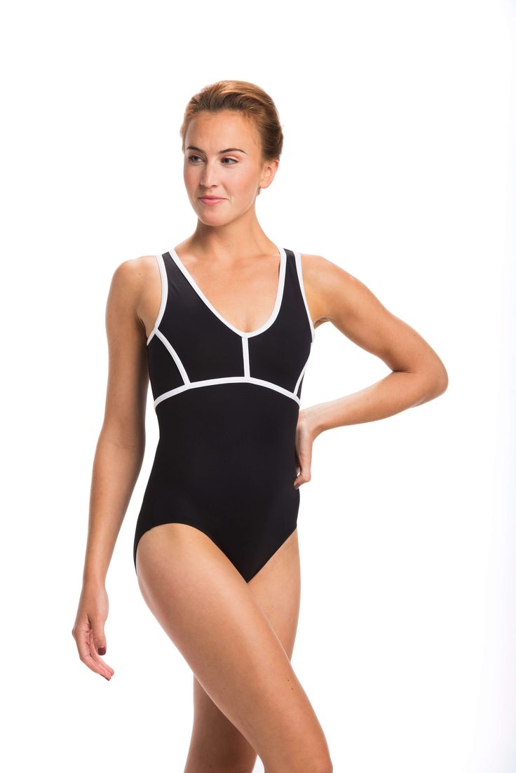 What's not to like about this sophisticated leotard with white taping and  mesh back?