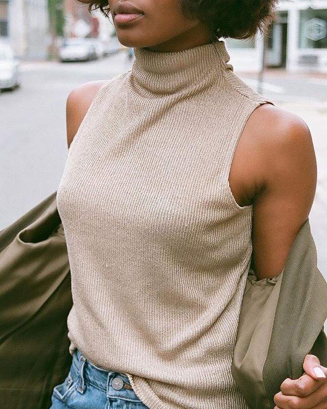 WEBSTA @ naninvintage - Vintage sand made in USA sleeveless turtleneck. Size s/m. $32 shipping.
