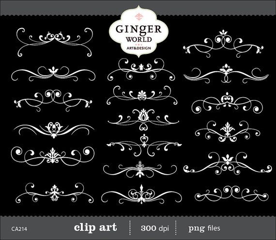 Flourish Clip Art Swirl vintage Border Kalligrafie digitale scrapbooking bruiloft (CA214)