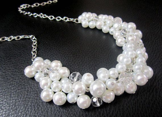 Bridesmaid Jewelry Pearl Statement Necklace by SLDesignsHBJ #etsyhmw #integritytt #epiconetsy Chunky pearl and crystal cluster necklace