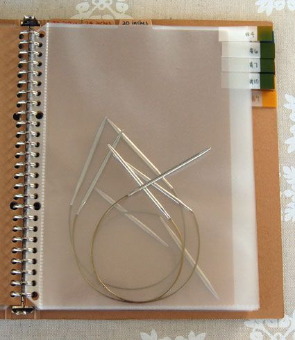Must make this handy notebook, not just for my circular needles, but for the straights and DPNs too!