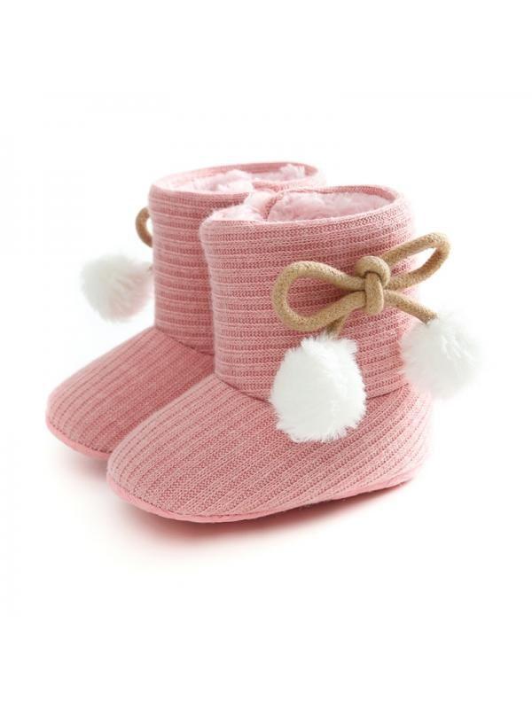 Infant Baby Girl Boy Winter Plush Snow Boots Kid Non-slip Soft Sole Cotton Shoes