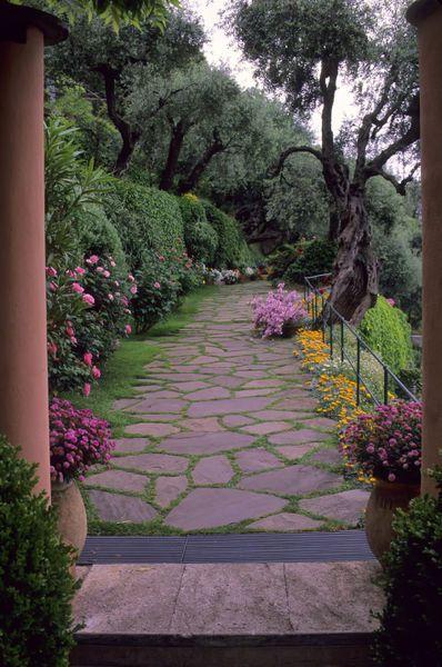 Italy, Portofino, Stone Walkway, Flowers, Roses and Azaleas: Flowers Gardens Walkways, Gardens Stones, Gardens Paths, Italian Hotels, Stones Paths, Stones Walkways, Beautiful Paths, Italy, Splendid Hotels