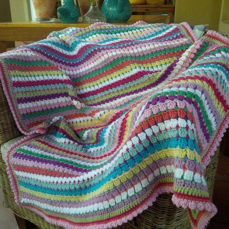 Crochet blanket. Chocolate box crochet made from leftovers;-)  By Kari