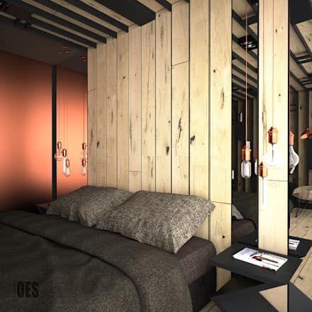 Projekt sypialni z elementami drewna i miedzi: styl , w kategorii Sypialnia zaprojektowany przez OES architekci