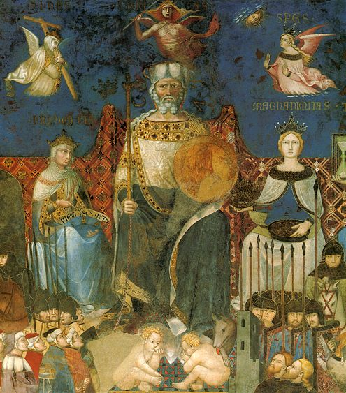 Ambrogio Lorenzetti - In alto le tre virtù teologali (da sinistra Fede, Carità e Speranza). Subito sotto il Comune / Bene Comune. Sotto ancora la Lupa (Allegoria del Buon Governo) - affresco - 1338-1339 - Siena - Palazzo Pubblico, Sala dei Nove o Sala della Pace