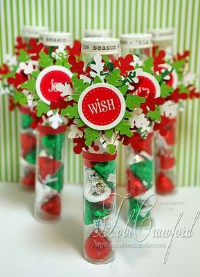 SRM Stickers: Tubes: @Tobi Crawford created these fabulus TUBES for Christmas Party favors using her Silhouette and SRM's Live Life Christmas stickers as embellishments.