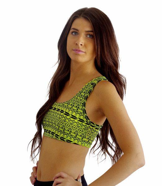 Neon yellow aztec sports bra
