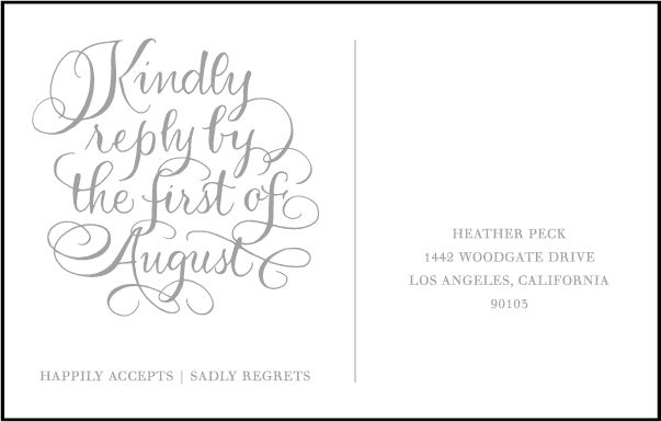 Letterpress Wedding Reply postcards | Simple Charms Design | Bella Figura Letterpress