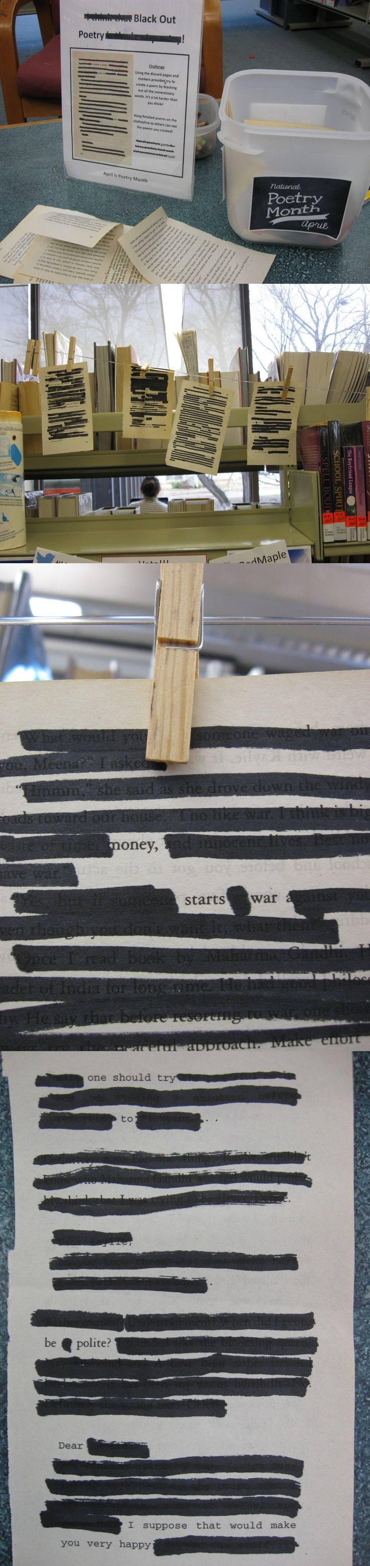Black Out Poetry teen passive program at the Sault Ste. Marie Public Library April 2014.
