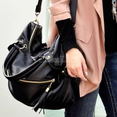 Tassel sac grande capacité sac à main noir des femmes coréennes