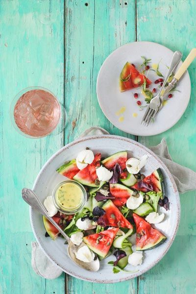 Charred Watermelon & Bocconcini Salad Crush Magazine