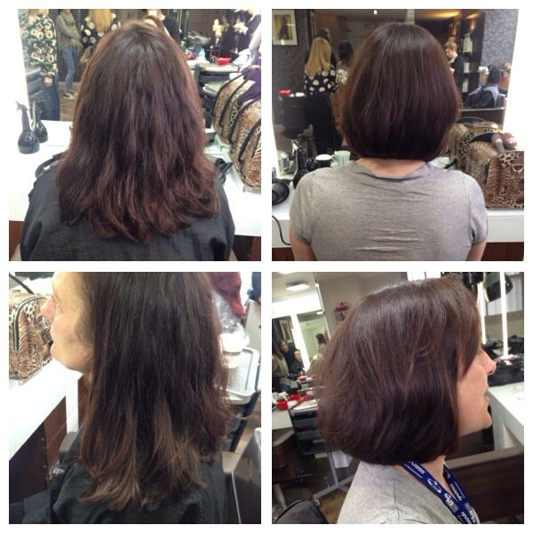 Before & after long bob hair cut with over directed layers and a subtle side fringe to complete the look!