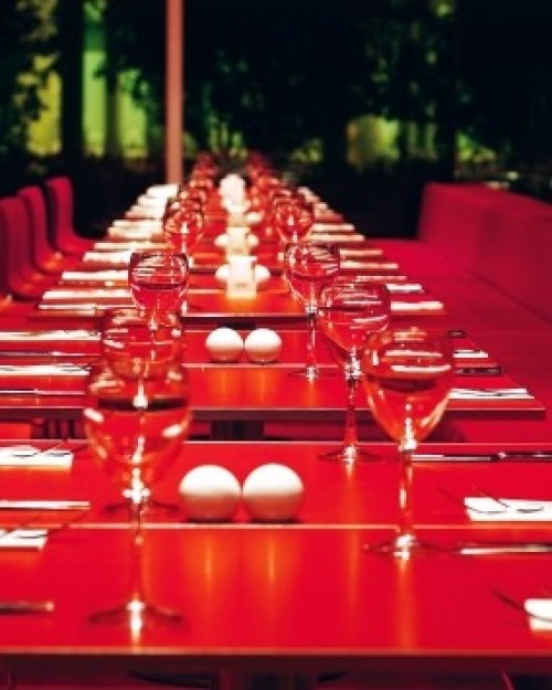 Hillside Su Hotel  ( Antalya, Turkey )  The all-red buffet restaurant supplies a rare dose of color in this white-on-white resort. #Jetsetter