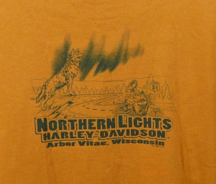 Womens Northern Lights Harley Davidson T-shirt XL Orange Arbor Vitae WI Cotton #HarleyDavidson #GraphicTee