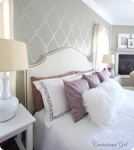 Fabulous stenciled bedroom wall! I love the idea for my bedroom. But could I actually make it look that good?
