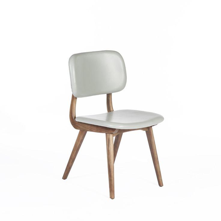 Inigo Dining Side Chair - Grey Leather Mid Century Modern Dining Chair  http://www.franceandson.com/modern-inigo-dining-side-chair-grey-leather.html
