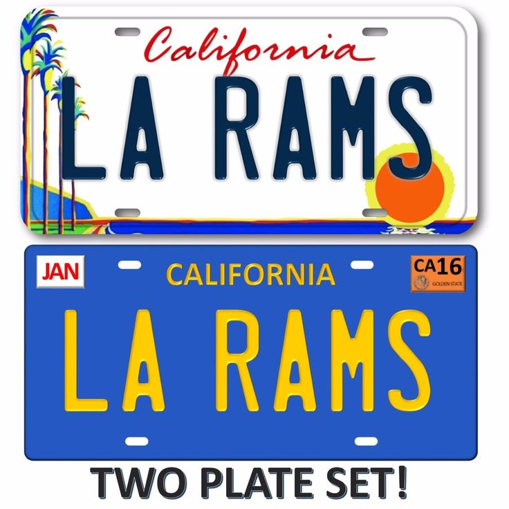 LA RAMS Los Angeles California 2 LOT SET NFL Football Team License Plate Tag 2