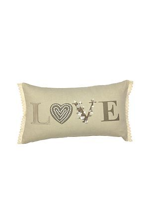 """This embellished scatter cushion is bound to add a feeling of love and classic romance to any feminine room. Measures 30x50cm.<div class=""""pdpDescContent""""><BR /><b class=""""pdpDesc"""">Dimensions:</b><BR />L50xH30 cm<BR /><BR /><b class=""""pdpDesc"""">Fabric Content:</b><BR />100% Cotton<BR /><BR /><b class=""""pdpDesc"""">Wash Care:</b><BR>Gentle cycle cold wash</div>"""