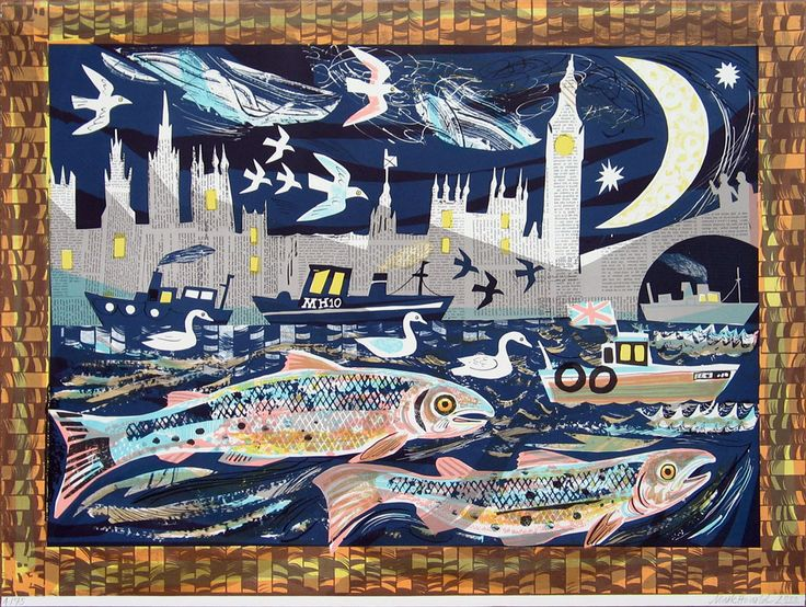 If anyone is stuck for a present to give me and has a spare £350.... I want this!!!! Mark Hearld, Salmon Return to the Thames .Lithograph, Edition 75. 73 x 96 cm. £350.00