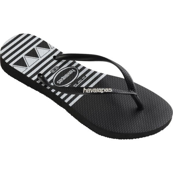 Havaianas Slim Logo Stripes ($28) ❤ liked on Polyvore featuring shoes,  sandals,