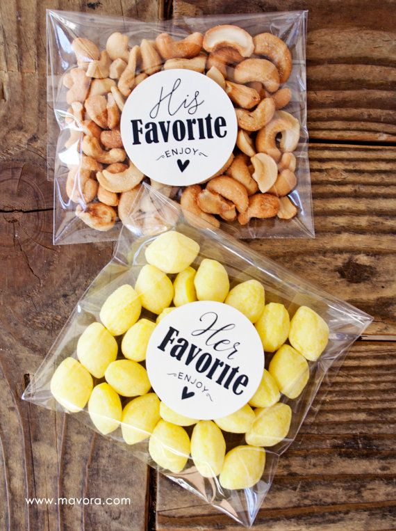 Wedding favor stickers - add your special treat. Set of twenty 2 inch round stickers (10 his & 10 hers). These favor stickers work great to seal my favor bags or on small Jam jars. They are light on the tacky so you can remove and re-seal if needed.  This listing cannot be customized and comes as pictured with black or gold ink. You get the best price buying this pre-made sticker pack.  >> For orders of more than 10 packs, please contact us for bulk pricing. <<  Each pack has 20 stickers for…