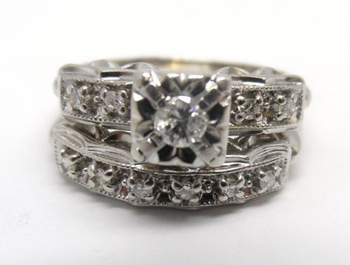 vintage 14k white diamond wedding set diamond engagement ring wedding band ebay - Ebay Wedding Ring Sets