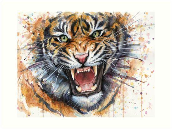 Ferocious Tiger Watercolor by OlechkaDesign [Olga Shvartsur]