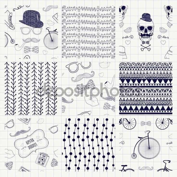 Baixar - Caneta desenho texturas sem emenda — Ilustração de Stock #58595213