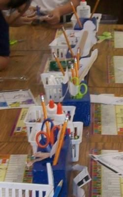 Everyone on my Kinder team uses painted bricks & baskets to organize student supplies.    Students keep their pencils and scissors in the bricks as well