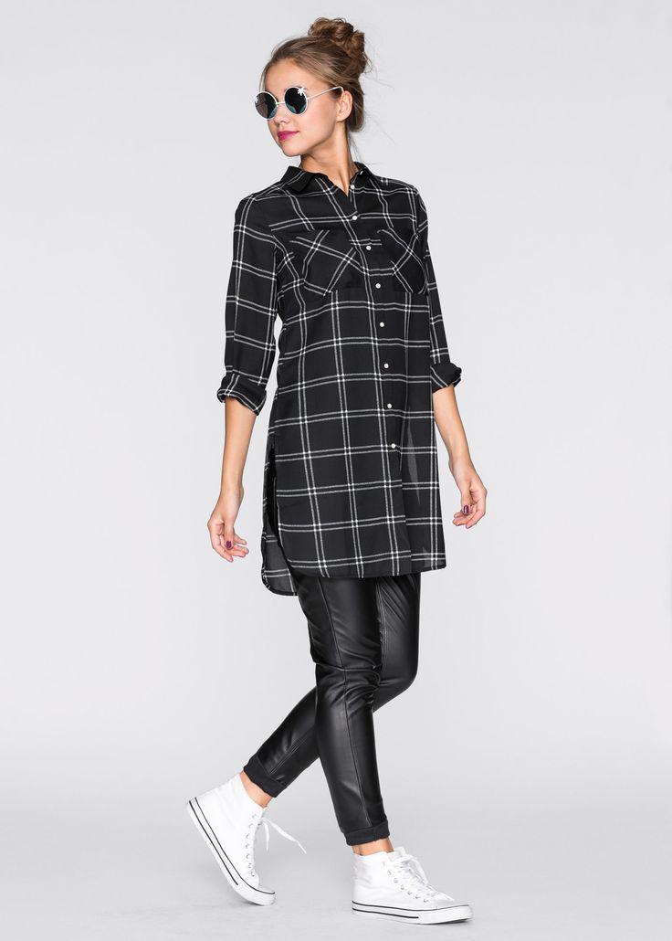 Посмотретьпрямо сейчас:  Настоящий Must-Have: трендовая удлиненная блузка в клетчатом дизайне. По бокам украшена длинными разрезами. Длина ок. 90 см (разм. 38).