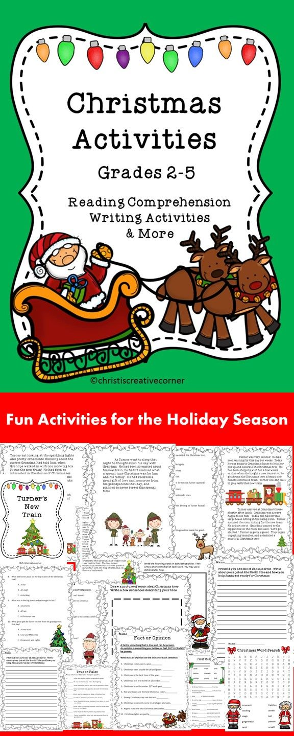 Christmas Activities - Reading Comprehension, Writing Activities, and MORE! #Christmas Language Arts # TPT #Christmas